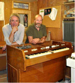 Martin Smith and John Bradley with a restored MKII mellotron